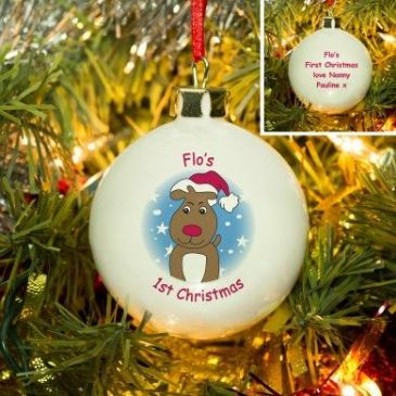 Cartoon Reindeer Bone China Bauble